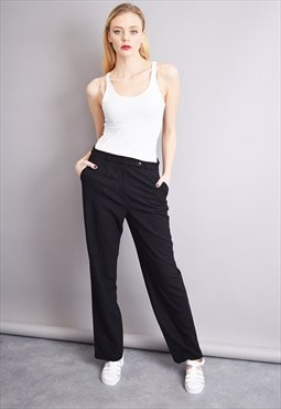 80's smart regular waist classy black minimalist trousers