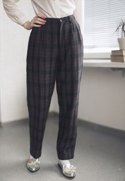 Vintage 80's Grey/Violet Wool Tartan Trousers