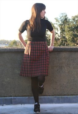 Vintage Tartan Knee Lenth Skirt