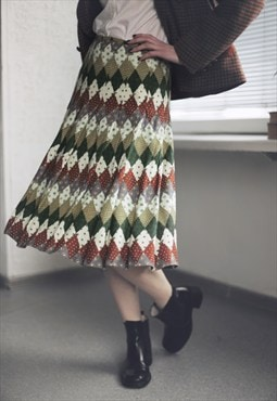 Vintage 80's Midi Multicolor Pleated Skirt