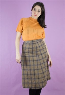 Vintage 70s wool check skirt 1121