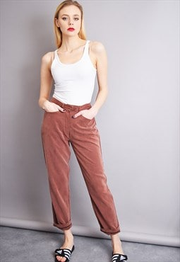 90's straight regular waist classy brown minimalist trousers