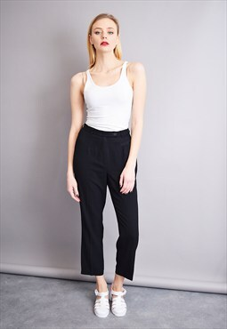 80's smart high waist classy black minimalist trousers