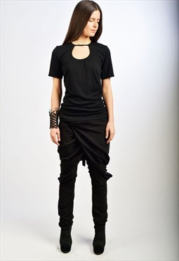 Black Pants/Drop Crotch Pants/Black Loose Pants/ P0020