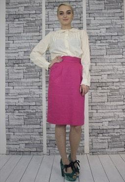 Hot PInk High Waisted Skirt With Pockets