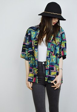 90's Vintage Oversized Abstract Print Shirt R6B238