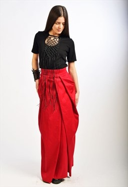 Red Long Skirt/Woman High Waist Skirt/Cotton Skirt/ S0005