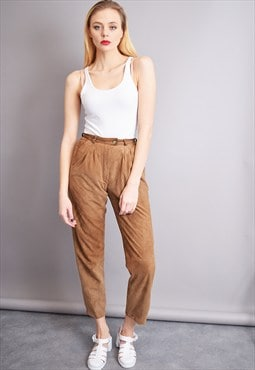 90's goes 70's real leather suede minimalist trousers