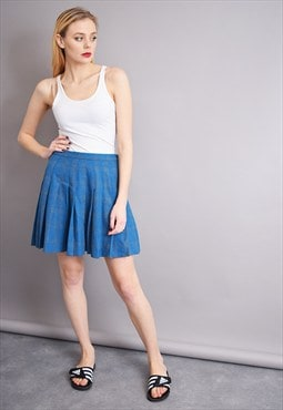 70's Mod retro classy checked minimalist pleated mini skirt