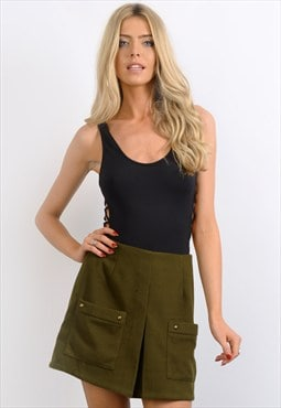 Khaki Wool Pleat Skirt