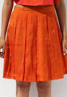 Handwoven Ilkal Cotton Orange Pleated Skirt