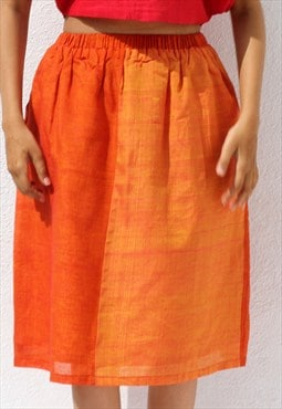 Handwoven Ilkal Cotton Orange Gathered Skirt