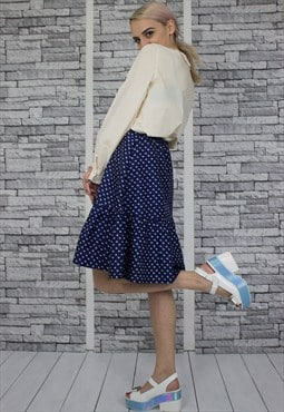 Blue Polka Dot Frill Skirt