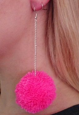 Barbie Pink Medium Chain Pom Pom Earrings