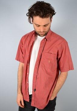 Ralph Lauren Mens Vintage Shirt Large Red Stripes 90's