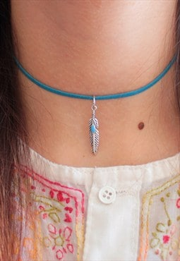 Handmade Turquoise Faux Suede Feather Choker (Vegan)