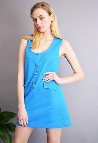 VINTAGE 60'S MOD CLASSY BLUE MINI PINAFORE DRESS