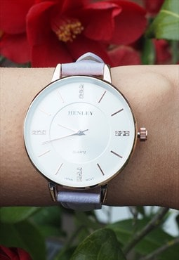 Ladies Leather Thin Strap Watch
