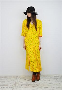 Vintage 90's Grunge Floral Midi Dress R1D071 PLUS SIZE