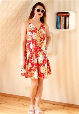 Bright red floral summer dress
