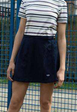1990s Adidas Wrap Netball Skirt Sport Mini Grunge Navy