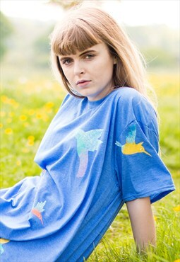 Hand Painted Blue Hummingbirds Tee