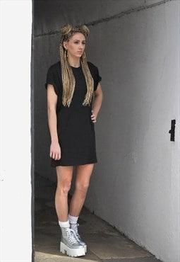 Gone Retro Black Long tall Extended Oversize T shirt Dress