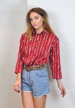 Vintage Red & White Striped Shirt