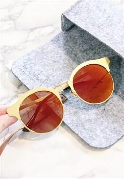 Gold Half Frame Cat Eye Sunglasses
