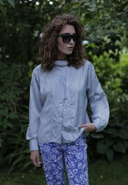 Vintage 80's Light Blue Long Sleeved Blouse