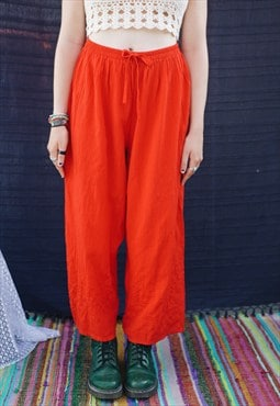 High Waisted Vintage Red Plain Trousers
