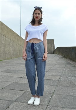 Relaxed Tie Up Trousers, made in Organic Denim
