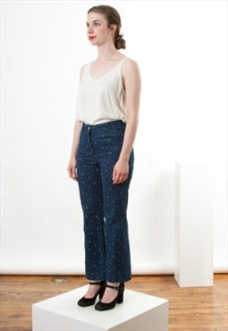 Floral Flared Jeans / High Waisted Pants