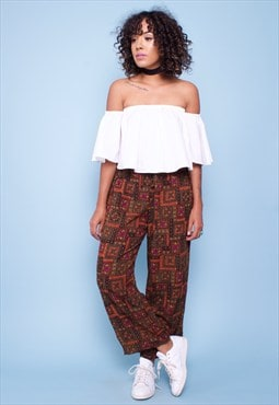 Vintage 90s Print Trousers 26075