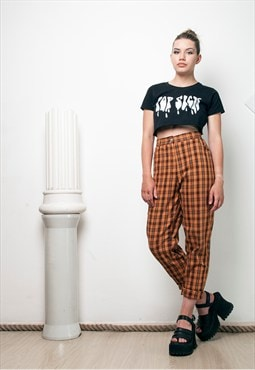 90s vintage checked high waisted trousers