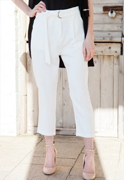 Belted Cream Trousers
