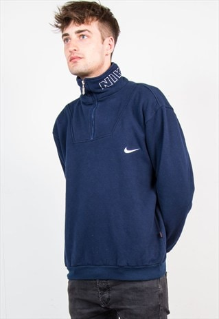 90'S NIKE NAVY QUARTER ZIP SWEATER