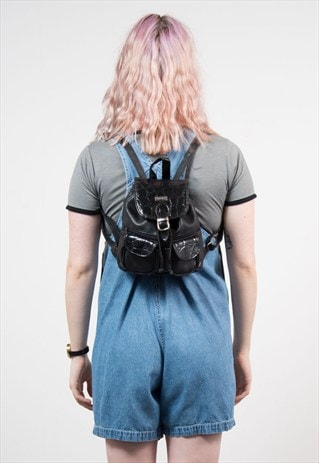 90'S FAUX LEATHER MOCK CROC RUCKSACK