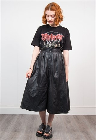 VINTAGE 90'S BLACK LEATHER MIDI SKIRT