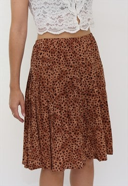 Vintage 80s Brown Animal Print Pleated Mini Skirt
