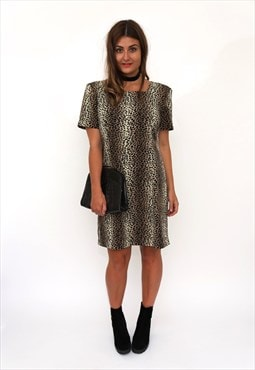 Vintage 90s Brown Leopard Print Shift Dress