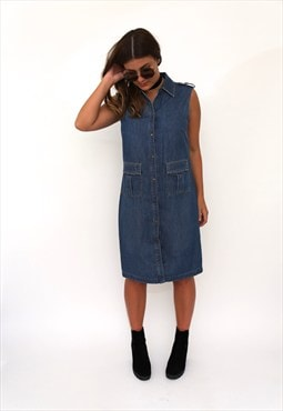Vintage 90s Blue Denim Shirt Dress