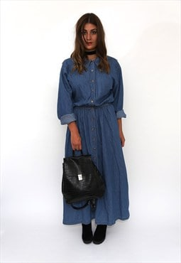 Vintage 90s Blue Denim Shirt Maxi Long Sleeve Dress