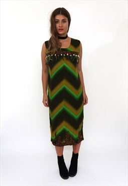 Vintage 90s Green Boho Print Shell Midi Dress