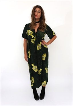 Vintage 90s Green Fish Boho Print Midi Dress