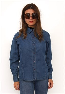 Vintage 90s Blue Denim Shirt