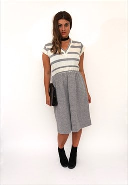 Vintage 80s Grey Striped Midi Dress