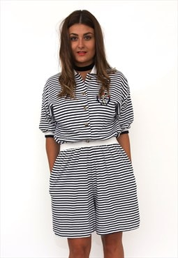 Vintage 80s Striped Navy Cotton Playsuit