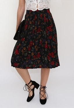 Vintage 80s Dark Floral Pleated Midi Skirt
