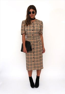 Vintage 80s Brown Check Shirt Midi Dress